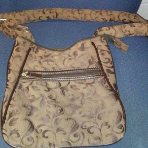 Thirty One Brown Brocade Cross Body Bag. Excellent